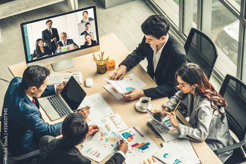 Valokuvatapetti Video call group business people meeting on virtual workplace or remote office