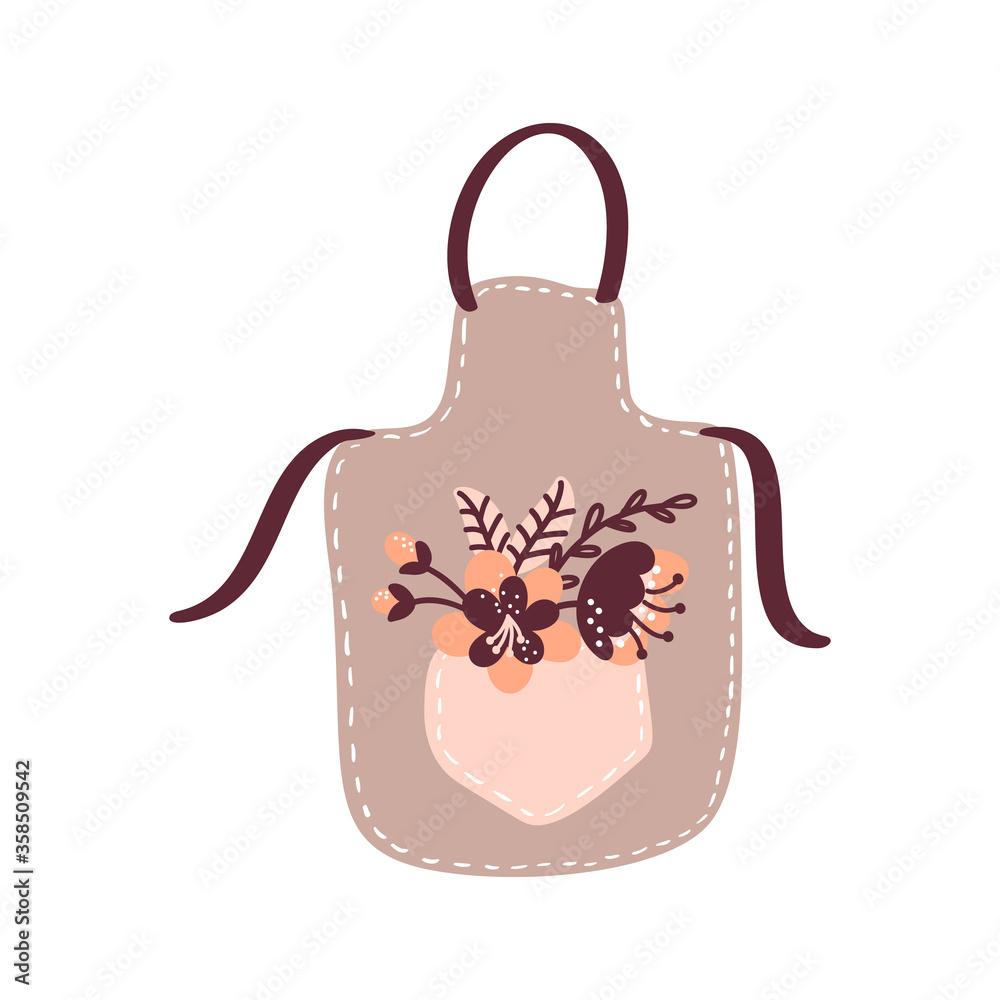 Fototapeta Vector floral cooking apron illustration for food blog. Hand drawn cute design element. For restaurant, cafe menu or banner, poster