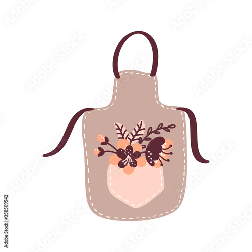 Obraz Vector floral cooking apron illustration for food blog. Hand drawn cute design element. For restaurant, cafe menu or banner, poster - fototapety do salonu