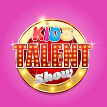 Kids Talent Show Logo, Signboard With Glowing Lights, Vector Illustration. Children Talent Television Contest, Competition.