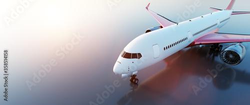 Airplane on runway at sunset Fotobehang