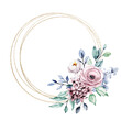 Leinwandbild Motiv Wreath with watercolor flowers, gold geometric floral frame for greeting card, invitation and other printing design. Isolated on white. Hand drawing.