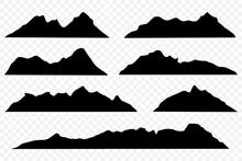 Set Of Mountains On White Back...