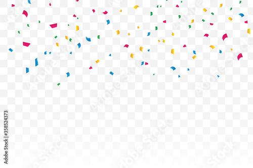 Fototapeta Colorful stars confetti on a transparent background. Celebration and party. obraz na płótnie
