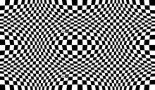Checkered Seamless Pattern With Optical Illusion Of Spherical Volume, Black And White Geometric Abstract Background, Chess Board 3D Effect Op Art.