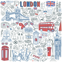 London Doodle Set. Landmarks, Architecture And Traditional Symbols Of English Culture - Big Ben, Tower Bridge, Royal Crown, Red Telephone Box, Union Jack. Vector Illustration Isolated On Background