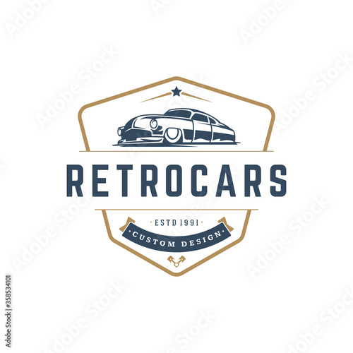 Fotografia Hot rod car logo template vector design element vintage style