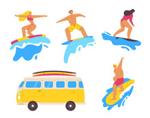 Young People Riding On Surfboa...