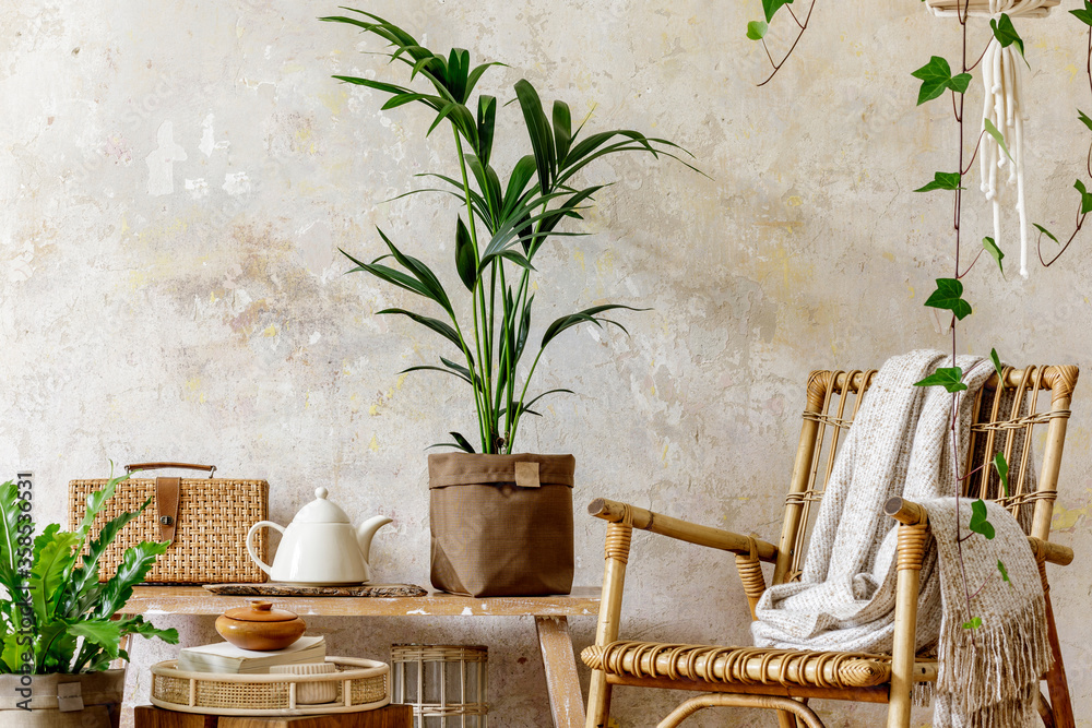 Fototapeta Neutral composition of living room interior with rattan armchair, wooden bench, a lot of tropical plants in design pots, decoration and elegant personal accessories in stylish home decor.