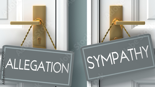sympathy or allegation as a choice in life - pictured as words allegation, sympa Canvas Print