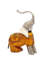 Old Wooden And Metallic Elephant