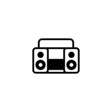 Music Icon. Boombox Icon In Bl...