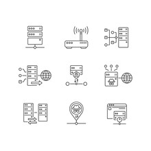 Virtual Proxy Servers Linear Icons Set. VPN Services Customizable Thin Line Contour Symbols. Internet Connection Through Secure Server. Isolated Vector Outline Illustrations. Editable Stroke