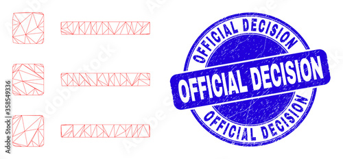 Photo Web carcass list items icon and Official Decision seal stamp