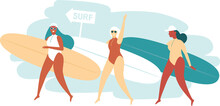 Three Happy Surfer Girls Walki...
