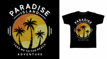Paradise Island With Sunset Design Vector Illustration, Ready For Print On T-shirt.