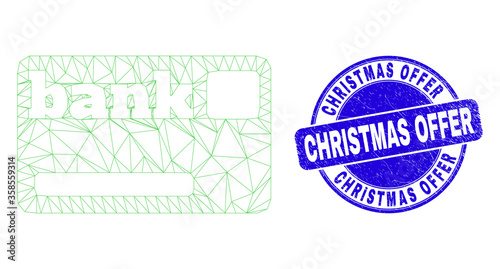 Web mesh bank card icon and Christmas Offer seal stamp Canvas Print