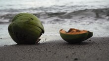 A Weathered Coconut On The Bea...