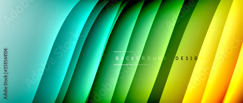 Fluid gradient waves with shadow lines and glowing light effect, modern flowing motion abstract background for cover, placards, poster, banner or flyer - 358564104