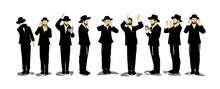 Illustration Of Orthodox Jewish Chassidim Praying And Crying. With A Hat And A Suit. Each Character Takes A Different Action: Begging, Calling In The Arrangement, Punching His Heart, Raising His Hands