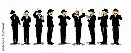 Fototapeta Illustration of Orthodox Jewish chassidim praying and crying. With a hat and a suit. Each character takes a different action: begging, calling in the arrangement, punching his heart, raising his hands obraz