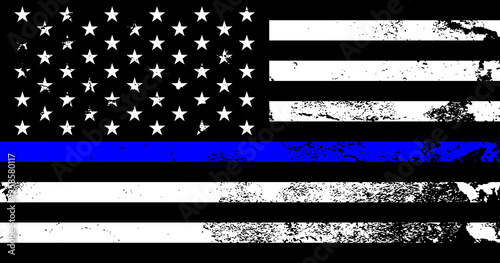 Obraz American flag with police support symbol, Thin blue line. American police in society as the force which holds back chaos, allowing order and civilization to thrive. Poster, card, banner, background - fototapety do salonu