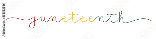 JUNETEENTH colorful vector monoline calligraphy banner with swashes - 358583546