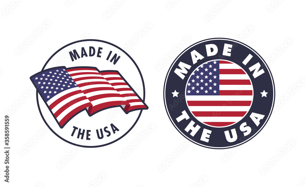 Fototapeta Made in the USA badge collection. American proud badge. United States of America flag color symbol.