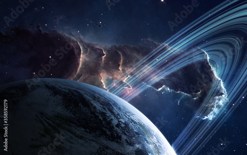 Fotomural Universe scene with planets, stars and galaxies