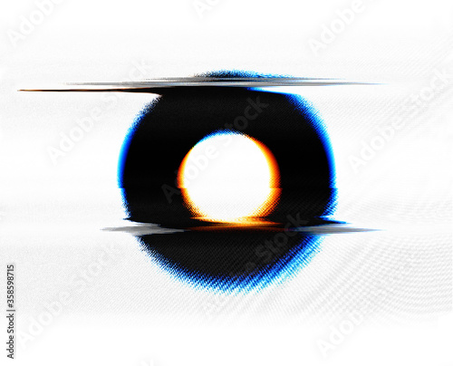 Abstract colorful round geometric shape with hole, horizontal glitch deformation and chromatic aberration and TV static in the style of vintage VHS tapes isolated on white background Canvas Print