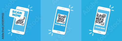 Fotomural Scan QR code flat icon with phone. Barcode. Vector illustration.