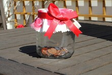 Glass Money Jar With Patterned...
