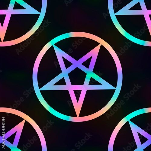 Fotografie, Obraz Seamless pattern with magic bright pentagram on a black background, gothic or sa