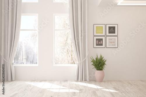 Carta da parati White stylish empty room with winter landscape in window