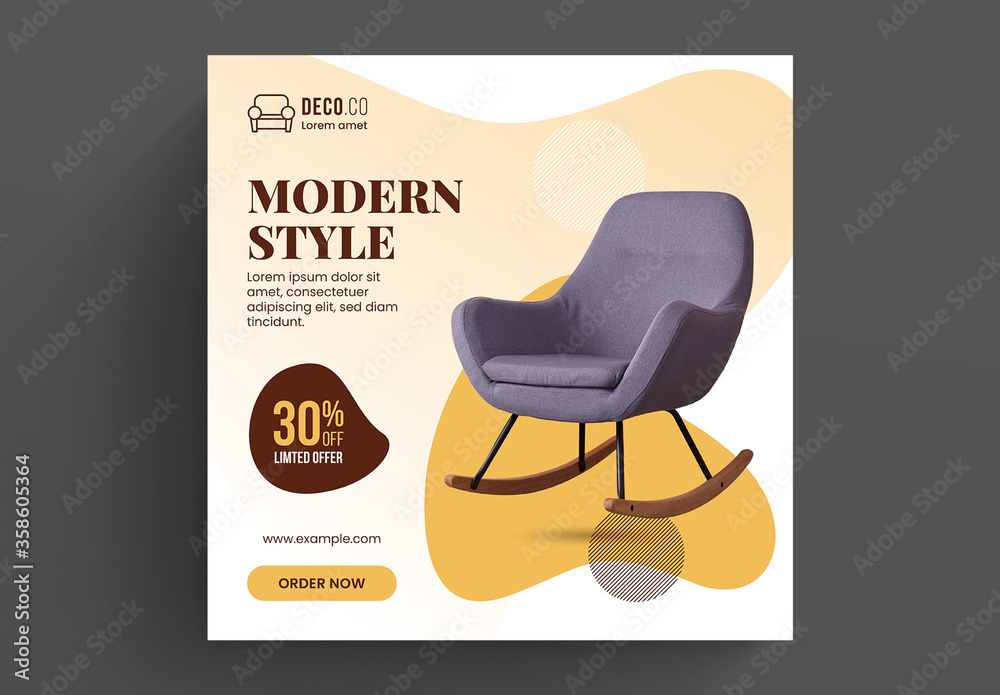 Fototapeta Furniture Sale Social Media Post Layout with Modern Shape Elements