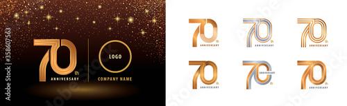Set of 70th Anniversary logotype design, Seventy years anniversary celebration Tableau sur Toile