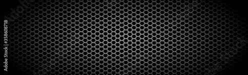 Fényképezés Texture panorama of metal with reflection with perforation