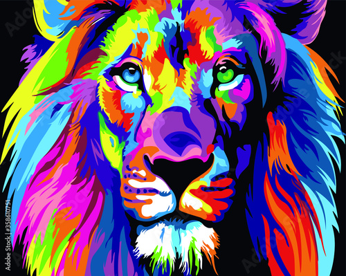 Fototapeta multi-colored art lion. vector image