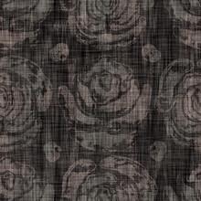 Seamless Woven Linen Sepia Flo...