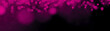 canvas print picture - Abstract festive celebration party holiday template background banner panorama - Pink bokeh Lights isolated on black texture, with space for text