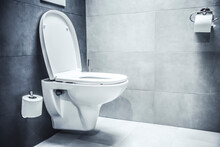 Ceramic White Toilet Bowl Near...