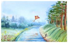 Watercolor Landscape Of Summer...