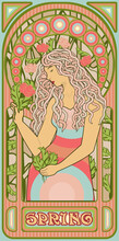 Spring Girl Wallpaper In Art Nouveau Style, Vector Illustration