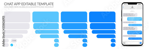 Papel de parede Editable phone chat with text bubbles set - Isolated sms dialogue and message te