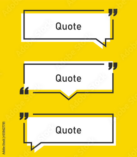 Vector illustration of quote in black frame with quotation marks and yellow background Canvas Print