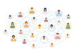Social network scheme connecting multicultural people. Abstract social network world connect people icons relationship vector illustration isolated on white.