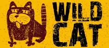 Wild Tabby Cat Sketch. The Vec...