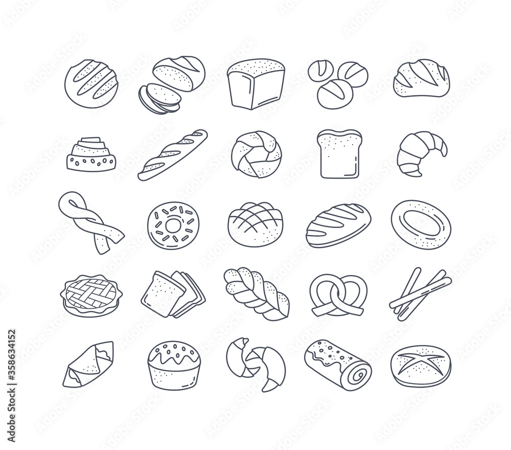 Fototapeta Large set of 25 black and white bread icons showing assorted loaves, rolls, buns, cakes, pretzels, bagels and pastries in vector line drawings