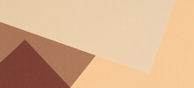Color Papers Geometry Composition Background With Beige, Light Brown And Dark Brown Tones.