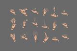 Fototapeta Dinusie - Hand labels gray